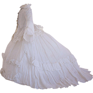 Superb Antique All Original Fine White Muslin Gown for French Poupée Fashion