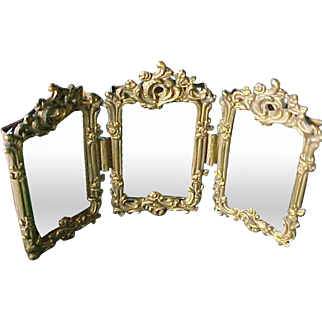 Exquisite Antique Miniature Trifold Brass Mirror