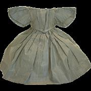 1860's Antique Original Enfantine Striped Silk French Fashion Poupée Dress