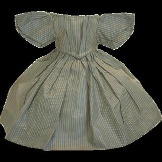 Antique French Fashion Poupée Green Striped Silk Enfantine Dress