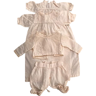Set of antique original white muslin or cotton undergarments for small fashion doll
