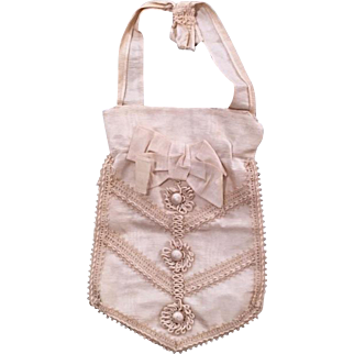 Antique Sac de Communion, white silk faille, circa 1855-85