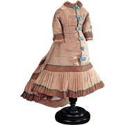 1875 French silk faille fashion doll morning gown