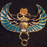 "Now, you too, can ""walk like an Egyptian"" with this fabulous Egyptian Motif Brooch!"