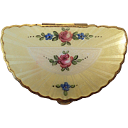 Yellow Guilloche Enamel Compact with Roses, Fan Shape