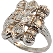 Art Deco Platinum and Diamond Plaque Ring