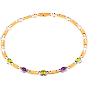 Vintage Italian 14KT Gold, Amethyst and Peridot Necklace