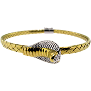 Vintage Italian 18KT White and Yellow Gold Cobra Bracelet