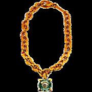 Vintage Chopard Blue Topaz Happy Diamond Gold Bracelet