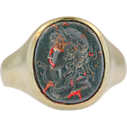 Antique Carved Bloodstone Ring