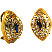Vintage High Quality Diamond and Sapphire Earrings