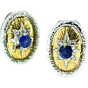 18kt Yellow and White Gold Sapphire and Diamond Earrings