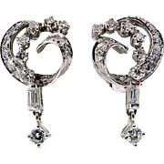 Vintage Hand Made Platinum and Diamond Dangling Earrings
