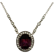Vintage Rhodolite Garnet and Diamond Pendant