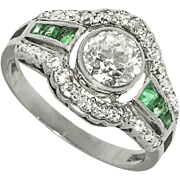 Art Deco Platinum Diamond Emerald Ring