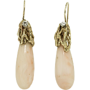 Angel Skin Coral Gold and Diamond Drop Earrings