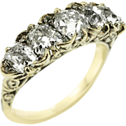 Antique Custom Made 3.13 ct Five Diamond Ring