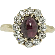 Antique 14 ct. Diamond and Garnet Ring