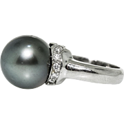 Platinum Diamond Black Tahitian Pearl Ring