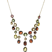 Edwardian Semi Precious Gemstone Waterfall Necklace