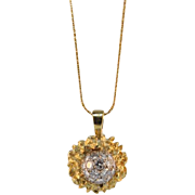 Vintage Hand Made 18KT Gold and Diamond Pendant