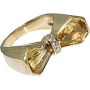 Vintage 18KT Yellow Gold Diamond and Citrine Ring