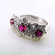High Quality 18kt White Gold, Three Stone Ruby and Diamond Ring