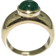 Vintage Cabochon Emerald Yellow Gold Ring