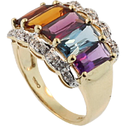 Vintage Multi-coloured Gem Stone and Diamond Ring