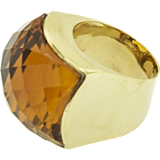 Vintage 18 kt Gold and Faceted Citrine Ring