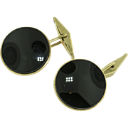 Vintage Gold and Onyx Cuff Links