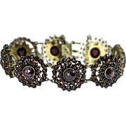 Bohemian Garnet Silver Gilt Bracelet