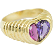 Vintage Bvlgari Amethyst and Tourmaline Heart Ring