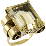 Large Hand Made Retro Lemon Quartz Ring