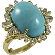 Vintage Custom Made Turquoise and Diamond Ring