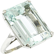 Vintage Custom Made Aquamarine Ring