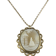 Vintage Yellow Gold Cameo Necklace/Brooch