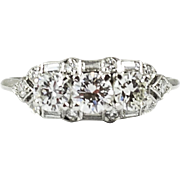 Vintage Birks Ellis Ryrie Platinum Diamond Three Stone Ring