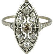Antique 14KT White Gold Diamond Ring