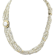 Vintage Keshi Pearl 14KT Gold Necklace
