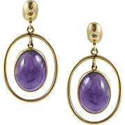 Vintage Amethyst Cabochon Yellow Gold Earrings