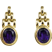 Vintage 14KT Yellow Gold Amethyst Earrings