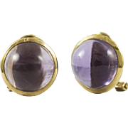 Vintage Amethyst Yellow Gold Stud Earrings