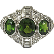 Art Deco Russian Demantoid Platinum Diamond Ring