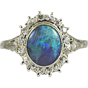 Ryrie Brothers Vintage Black Opal and Diamond Ring