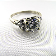 Art Deco 18KT White Gold 1.26 Carat F Colour Diamond Engagement Ring