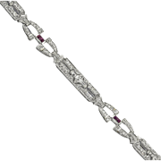 Art Deco Platinum Diamond and Ruby Link Bracelet