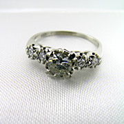 Vintage 18KT White Gold Custom Made .60 Old European Cut Engagement Ring
