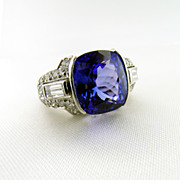 Vintage Hand Made Platinum Tanzanite and Diamond Ring