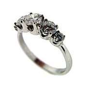 Hand Made Vintage 18KT White Gold 5-Stone Diamond Ring